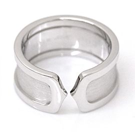 Cartier 18K White Gold 2C Logo Ring Size 8.5
