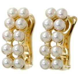 Christian Dior 18K Yellow Gold with Cultured Baby Pearl Earrings