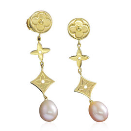 Louis Vuitton 18K Yellow Gold with Freshwater Cultured Pearl Earrings