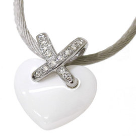 Chaumet Liens 18K White Gold with Ceramic and Diamond Heart Pendant Necklace