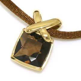 Chaumet Liens 18K Yellow Gold with Smoky Quartz Pendant Necklace