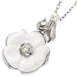 Chanel 18K White Gold & Ceramic with Diamond Camelia Necklace