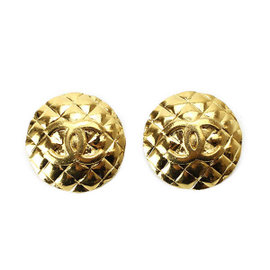 Chanel Gold Tone Hardware Matelasse COCO-Mark Vintage Earrings
