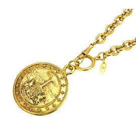 Chanel Gold Tone Hardware Coin Long Vintage Necklace