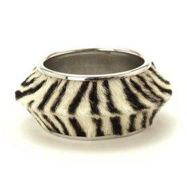 Christian Dior Silver Tone Hardware Zebra Bangle