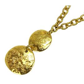 Chanel Gold Tone Hardware Coco-Mark Logo Swing Pendant Chain Necklace