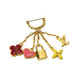 Louis Vuitton Sweet Monogram Gold Tone Hardware Brooch