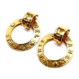 Chanel Gold Tone Hardware Logo Hoop Earrings