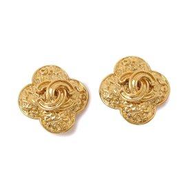 Chanel Camellia Coco-Mark Gold Tone Earrings