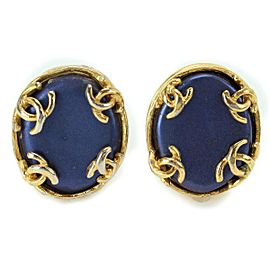 Chanel Gold Tone Hardware with Blue Bijou Coco Mark Vintage Earrings