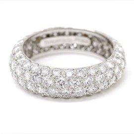 Tiffany & Co. Platinum with Four Row Diamond Ring Size 5.5