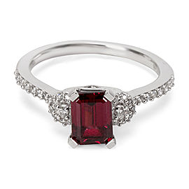 Garnet Octagon Ring in 14K White Gold with Diamonds (1.37 CTW)