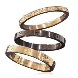 Cartier 18K Pink Gold & Brown Ceramic Diamond Three Hoop Love Ring Size 4