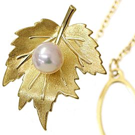 Mikimoto 18K Yellow Gold with Akoya Pearl Maple Motif Tie Tack Pin Brooch
