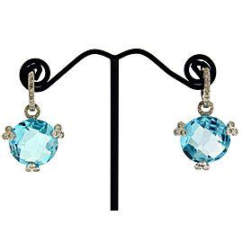 18K White Gold Diamond, Topaz Earrings