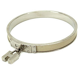 Hermes Silver Tone Hardware & Leather Kelly Cuff Bangle Bracelet