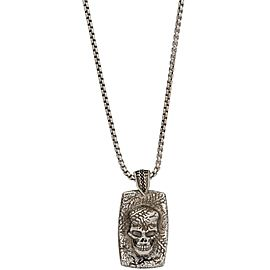 Stephen Webster 925 Sterling Silver Highwayman Skull Tyre Track Dog Tag Necklace