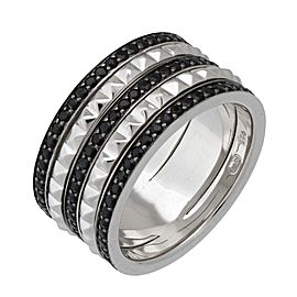 Stephen Webster 925 Sterling Silver & 1.44ctw. Black Sapphire Superstud Spinner Ring Size 7