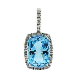 14K White Gold Topaz, Diamond Pendant