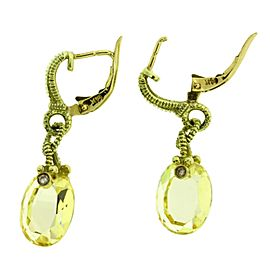 Judith Ripka 18K Yellow Gold with Quartz and 0.02ctw. Diamond Earrings
