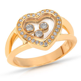 Chopard Happy Hearts 18K Yellow Gold with 0.25ctw Diamond Ring Size 4.5