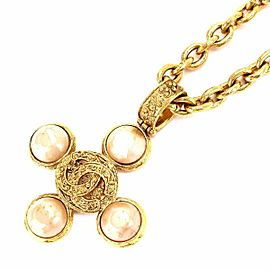 Chanel Gold Tone Hardware with Simulated Glass Pearl Long Necklace