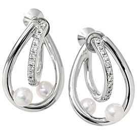 Mikimoto 18K White Gold Baby Cultured Pearl & Diamond Earrings