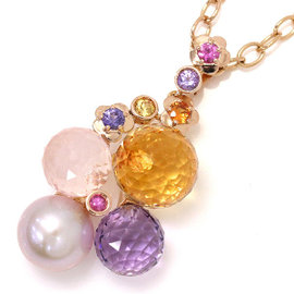 Chanel 18K Rose Gold Simulated Glass Pearl, Sapphire Amethyst Citrine & Quartz Mademoiselle Necklace