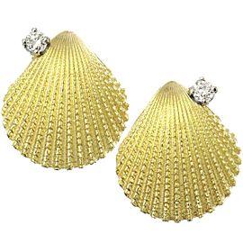Tiffany & Co. 18K Yellow Gold & Diamond Shell Motif Earrings