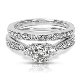 Diamond Engagement Ring Wedding Set in 14K White Gold (1.35 CTW)