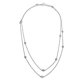 Tiffany & Co. Elsa Peretti Color by the Yard Sterling Silver 0.95ctw Aquamarine Necklace