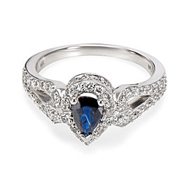 Diamond Halo Pear Shape Sapphire Ring 14k White Gold (0.50 CTW)