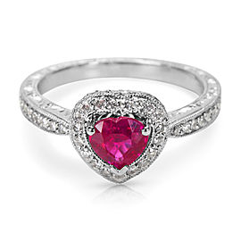Diamond and Ruby Heart Fashion Ring in 18K White Gold (1.08 CTW)