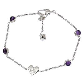 Gucci 925 Sterling Silver with Amethyst Heart Bracelet