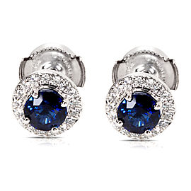 Tiffany & Co. PT950 Platinum with Soleste 0.80ct Blue Sapphire and 0.18ct Diamond Halo Earrings