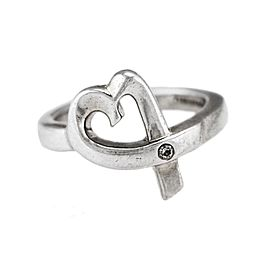 Ladies Tiffany & Co. Paloma Picasso 925 Sterling Diamond Loving Heart Ring Size 5.5