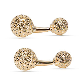 14K Yellow Gold Textured Ball Cufflinks