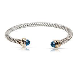 David Yurman Cable 925 Sterling Silver & 14K Yellow Gold Blue Topaz Bracelet