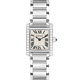 Cartier Tank Francaise Small Steel Diamond Ladies Watch W4TA0008