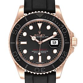 Rolex Yachtmaster 40 18K Everose Gold Rubber Strap Watch 116655