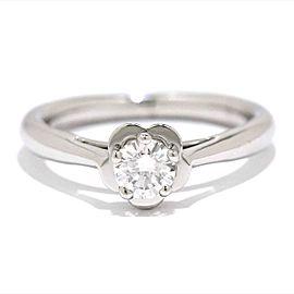 Chanel Camelia Platinum 0.33ct Diamond Ring Size 4.5