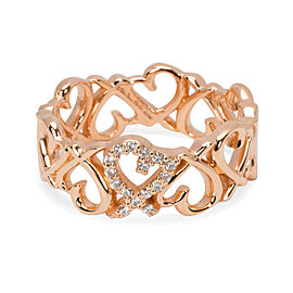 Tiffany & Co. Paloma 18K Rose Gold with 0.05ct Loving Heart Band Ring Size 7.25