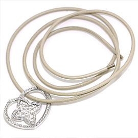 Louis Vuitton 18K White Gold with Diamond Heart Pendant Necklace