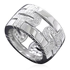 Bulgari Parentesi 18K White Gold Diamond Ring Size 4.75