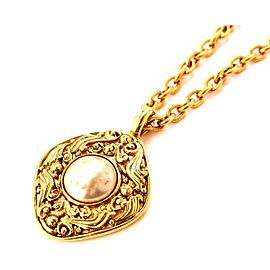 Chanel Gold Tone Simulated Glass Pearl Vintage Necklace