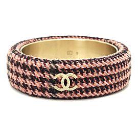 Chanel Gold Tone Tweed Cuff Bangle Bracelet