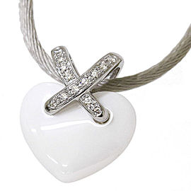 Chaumet Liens Heart Necklace Ceramic 18k White Gold Diamond
