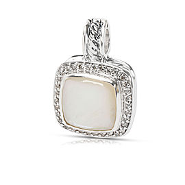 David Yurman Albion Sterling Silver Mother Of Pearl and Diamond Pendant
