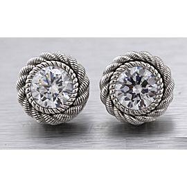 Ladies Judith Ripka 925 Sterling Silver Clear CZ Gemstone Stud Earrings