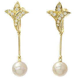 Mikimoto 18K Yellow Gold Cultured Akoya Pearl, Diamond Earrings
